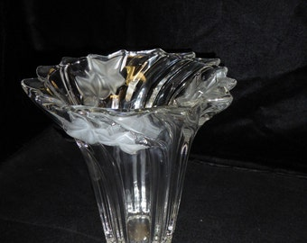Etched Glass Swirled Crystal Vase