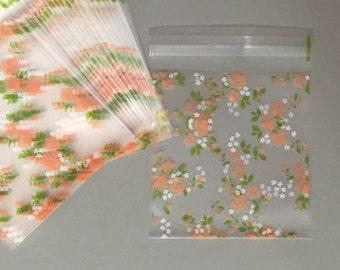 Cookie Bags-Rose Cookie Bags-Flower Cookie Bags-Peach Cookie Bags-Green Cookie Bags-Candy Bags