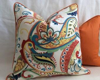 Vibrant Paisley and Solid Pillow Cover Set - 2pc Set - Orange pillow set