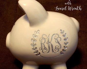 Pink filled engraved piggy bank with free custom design large - Engraved silver piggy bank ...