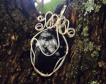 Snowflake Obsidian Silver Pendant Handmade
