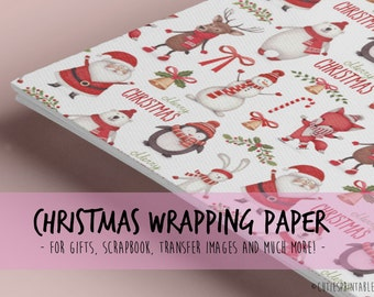Christimas Time / Printable wrapping paper for Scrapbooking / gift paper Santa Claus Snowman Candle Pinecones reindeer bell illustrated