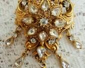 Signed Florenza Book Piece Antique Design Teardrop Brooch or Pendant Clear Rhinestones