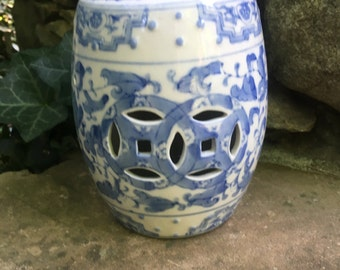 Mini Blue and White Garden Stool #2