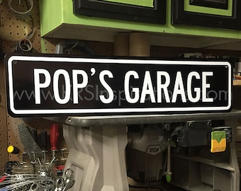 Pop's Garage Metal Sign