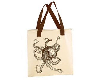 """OCTOPUS Screen Printed Tote Book Bag with ZIPPER - 17"""" x 17"""" 100% cotton"""
