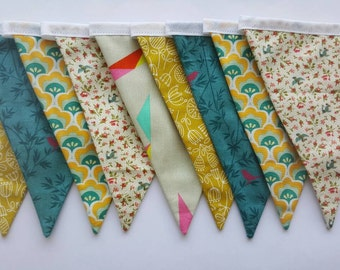 A Yellow and Green retro and Floral Patterned Fabric Bunting Banner