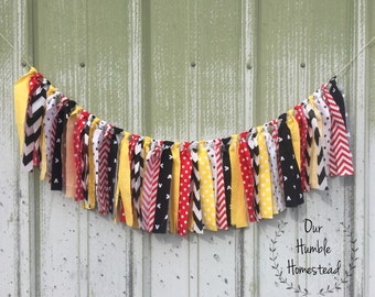 Mickey Mouse Themed Fabric Banner, Mickey Mouse Birthday, Birthday Bunting, Garland