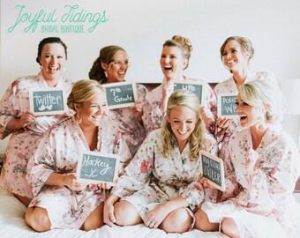 FREE ROBE Set of 7+ Satin Floral Robe, Bridesmaid Gift, Wedding Robe for Bridesmaid Proposal Gift Set, Bridal Party Robe Set, Getting Ready