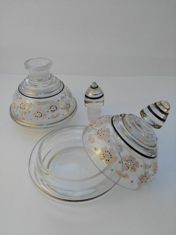 Glass Vanity Set - Dressing Table Set - Gilt Lidded Bowls - Mothers ...