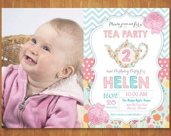Tea for two Invitation with Photo. Tea Party Invitation. Tea Party Birthday Invitation. Tea for 2. Second 2nd Birthday. Printable Digital