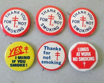 Vintage American Lung Association Metal Pin Button Set of 6 Thank You For Not Smoking Lungs At Work Yes I Mind If You Smoke