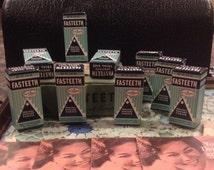 Fasteeth Denture Powder sample advertising tins with orginal shipping box / 9 tins / denture adhesive / 1940's