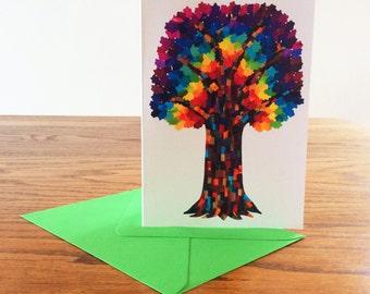 Rainbow tree card - Tree greeting card - Blank card - Tree of life print - Paper collage art - Bright greeting card - Rainbow tree art print