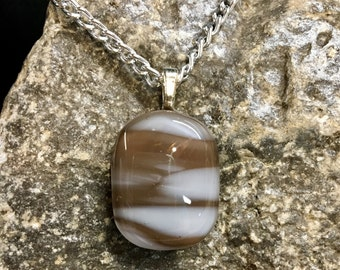 Fused Brown & White Glass Pendant
