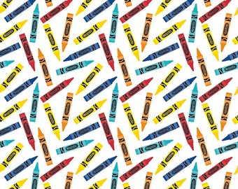 Colorfully Creative Crayola Color Me Crayon White by Riley Blake Designs - Quilting Cotton Fabric - choose your cut