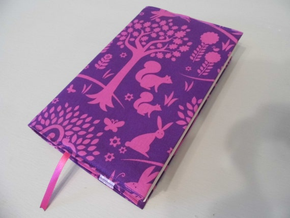 Handmade Fabric Book Covers : Purple forest handmade fabric book cover