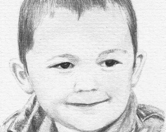 4 x 6 Custom Black and White Portrait from Your Photo Watercolor Pencil Drawing Painting
