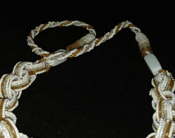 CLEARANCE *White and Gold Seed Bead Necklace.