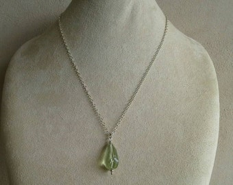 """Green Amythest/Praisiolite Pendant Necklace,1 1/4"""" Long, Sterling Silver 18""""-21""""Adjustable Chain With Sterling Lobster Clasp //Gifts for Her"""