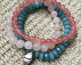 Summer gemstone bracelet stack