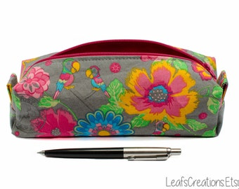 Pencil case Zipper pouch boxy School supplies Flowers Pink Grey Yellow Green
