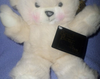 "Vintage Brad Bear plush by Special Effects White rosy cheeks and Feet dots NWTS  11"" Rare"