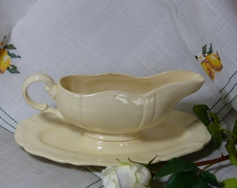 "Vintage Sauce Boat. Vintage Gravy Boat. Small Vegetable Bowl.  ""Sauciere"". Made by  Sarreguiemines. FRENCH. VINTAGE."