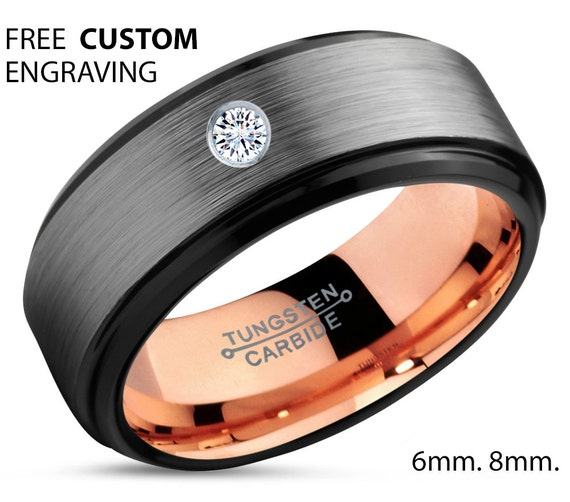 brushed silver black tungsten ring 18k rose gold black band. Black Bedroom Furniture Sets. Home Design Ideas