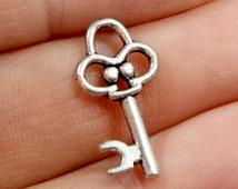Silver Skeleton Key Charms. (6) Metal Key Charms. Small Old Fashioned Key Pendant. Charm Bracelet Keys. Small Silver Keys 20mm x 10mm