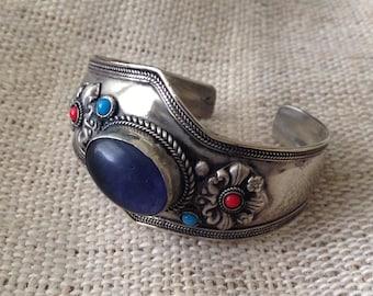 Ethnic  Lapis Lazuli Coral Amethyst Cuff Bracelet