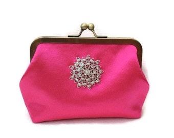 Evening Bag, Clutch Bag, Evening Clutch, Clutch Purse, Bridal Clutch, Shocking Pink Clutch, Hot pink clutch bag