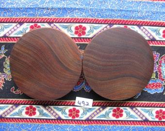 56mm Handmade Wooden Pau Santo 'Brazilian Blackheart' Ear Plugs Pair - Easy Care ( Overall size 57mm )