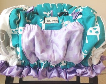 Teal Giraffes, Grey Elephants, and Lavender Shopping Cart Cover/Restaurant High Chair Cover, Park Swing Cover