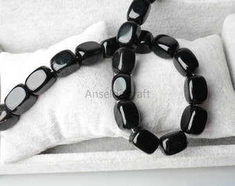 Natural Black Obsidian Smooth Square Beads Supplies, Full Strand 13x18mm Black Obsidian Rectangle Gemstone Beads for DIY Jewelry Making