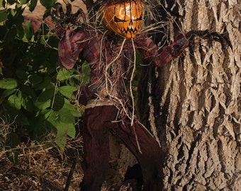 Scarecrow Pumpkin Demon - ooak handmade halloween horror sculpture