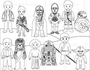 Star Wars Digital Stamps, Star Wars Clipart, Star Wars Clipart, Star Wars Coloring Pages, Star Wars Characters, Star Wars Outlines