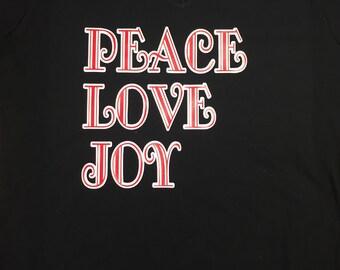 Peace Love Joy womens holiday christmas tshirt