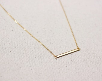 Dainty Thin Gold Horizontal Bar Layering Necklace