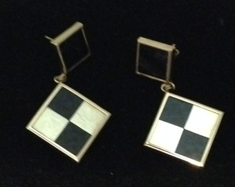 Black and gold 14kt earrings
