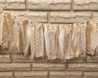 Cream, Gold and White Fabric Banner