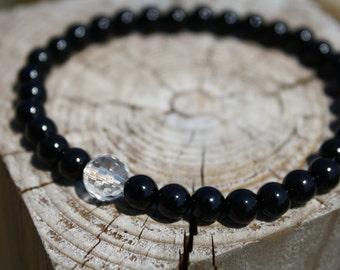 5A Quality Rock Crystal Quartz, AA Quality Black Onyx.  Genuine Power Stone Juzu mala Bracelet.