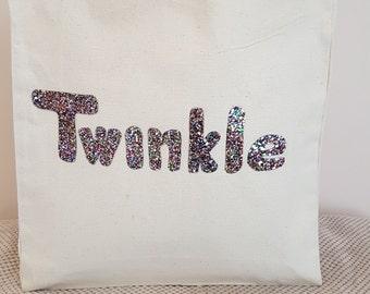 Multi coloured Twinkle canvas tote shoulder bag