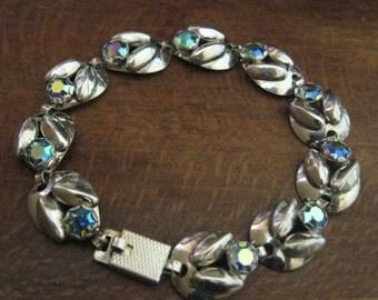 Scandinavian Sterling Silver Crystal set Bracelet