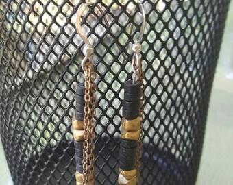 Black Onyx and brass gemstone dangle sterling silver earrings