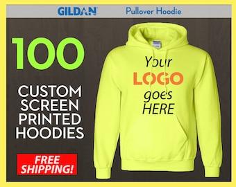 100 Custom Screen Printed Pullover Hoodies