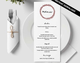 Wedding Menu Template Wedding Template Editable by MarryMakings