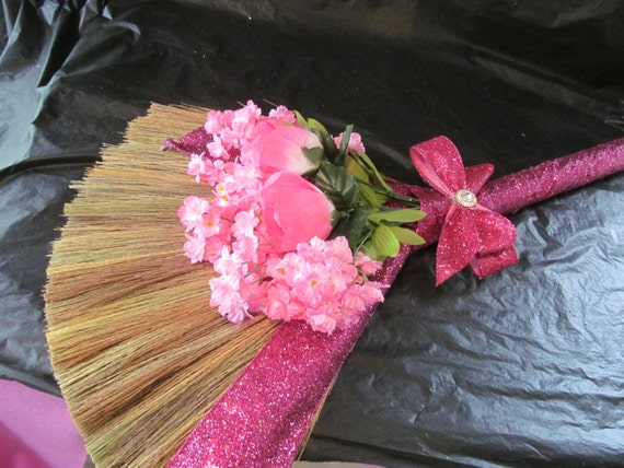 sale decorated wedding jump broom glitter ribbon jumping