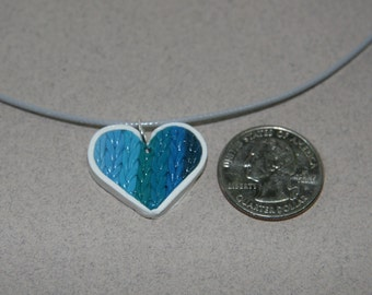 Knitted Heart Necklace Blue
