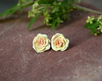 Autumn Yellow Rose Stud Earrings